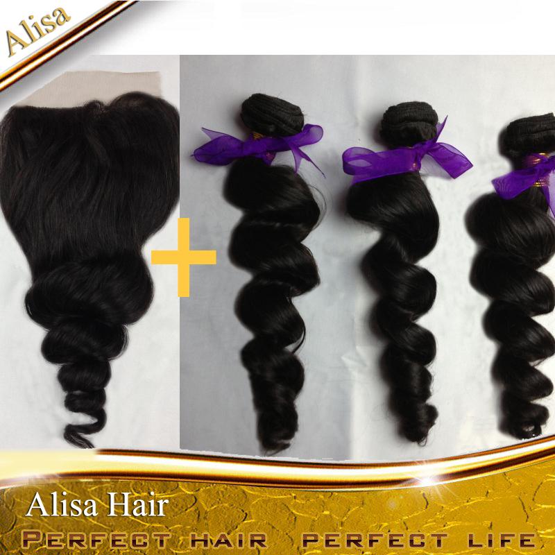 Loose wave 3 Bundles Peruvian Virgin Hair Weave With 1PC Lace Top Closure 4PCS Lots , Alisa Hair Product,Free Shipping(China (Mainland))