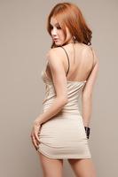 Spaghetti Strap MiNi Sheath Empire Sexy Nightclubs Cute Sequined Slim Women's Dress