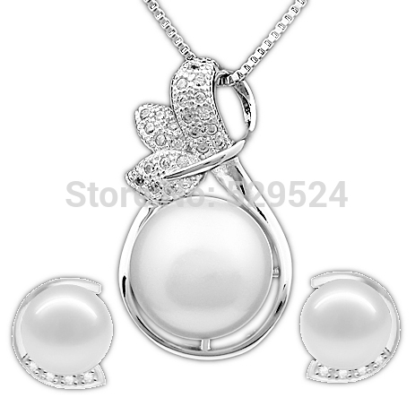 Promotion Price 100% Natural Cultured Freshwater Pearl Jewelry Set Women's Birthday Gift Wedding Jewelry Sets(China (Mainland))