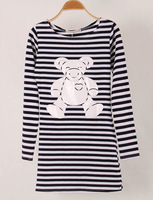 2014 Autumn New Casual Women Thin Black and White Striped Bottoming T Shirts Long Sleeve Tops Tees, 3 Models, S, M, L, XL
