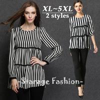 M-5XL Brand Plus Size Women Loose Black Stripe Half Sleeve Casual Blouses 2015 Spring Summer Big Size Ladies Tops shirts 3342