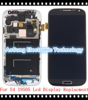 s4 LCD Black  100% new  For Samsung Galaxy S4 i9505 lcd display screen digitizer+Frame Assembly  s4  lcd replacement