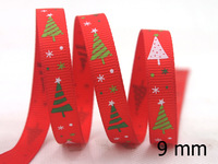 "2014 New 3/8"" 9mm Christmas Tree Ribbon Printed Grosgrain Decoration Tape,Hair bows 100 yards/roll Free shipping"