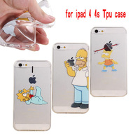New Thin Transparent Soft Silicon Full protect case for iphone 4 homer simpson eat logo clear case For apple iphone 4/4s cases