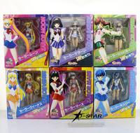 """Free Shipping 6pcs 6"""" Sailor Moon Anime Moon + Mercury + Mars +Venus + Jupiter + Saturn Set PVC Action Figure Model (6pcs set)"""