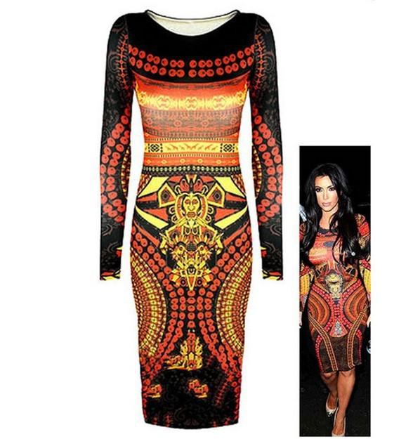 2014 New Fashion Women Outfit Pattern Egypt King Print Bandage Women Dresses Sexy Bodycon Ladies Clubwear(China (Mainland))