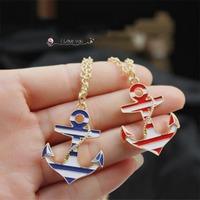 Wholesale 2014 New Navy Trend Anchor 18K Gold Long Chain Pendant Necklace Blue Enamel Necklaces Pendants For Men and Women