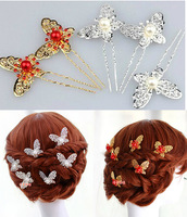 Free Shipping! 12Pcs/ Lot Silver/Red  Butterfly With Pearl Bridal Hair pins Wedding Hair Accessories