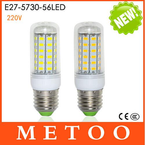 Super bright SMD 5730 E27 LED lamps 220V 56 LEDs Max 18W Corn Bulbs Indoor lighting lantern 1Pcs/Lot(China (Mainland))