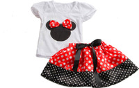 Fashion girls Minnie clothes set  2 pcs  Cartoon Mickey Minnie T-shirt Skirt Sets Children's Clothing Set 2-4 T