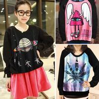 2014 new fashion Womens Printed Loose Hoodies Long Sleeve 3D Sweatshirt Tops Big Size 4 Types B11 SV004882