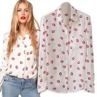 Women's Stand Collar Button Red Lip Print Chiffion Blouse&Shirts Ladis Fashion Long Sleeve Shirt Classic Tops Blusas Femininas