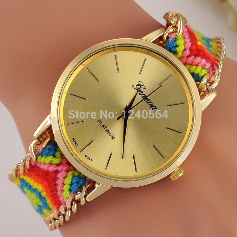 Free Shipping 2015 Hand-Woven Braided Rope GENEVA Watch Handmade Friendship Bracelet Watches Women Fashion Quartz Wristwatches(China (Mainland))