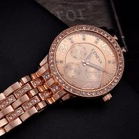 Luxury Crystals Women Dress Watches Vogue Girls Gold Plated 316L Bracelet Wristwatch Quartz Brand Waterproof Clock Relojes NW379
