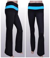 Black contrast light blue waistband Cheap Women Yoga Pants, make of top quality nylon and spandex, standard US size