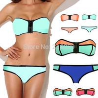 2015 Newest Women Sexy Swimsuit Zipper Top and Bottom Swimwear Triangle Bikini Set S M L 9 Color