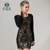 M-4XL Plus Size Vestidos 2014 Autumn Winter Wear Loose Casual  Long Sleeve Women Dress