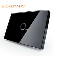 US AU Standard,Wlansmart,Light Lamps Wall Switch,Touch Toughened glass+LED,1Gang1Way,110V-240V,Luxury black Crystal Glass Panel