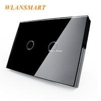 US AU Standard,Wlansmart,Light Lamps Wall Switch,Touch Toughened glass+LED,2Gang1Way,110V-240V,Luxury black Crystal Glass Panel