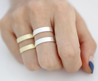 Adjustable Stacking Wide and Thick brush Two Line Band Cuff ring, tube knuckle fashion jewelry