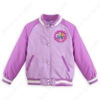 Retai New Frozen Anna Elsa Varsity Jacket Girl Long Sleeve Coat Kids/Toddler Princess Clothing Children Outerwear Autumn Winter