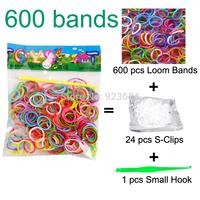 500 Packs/lot (600 Bands + 24 S-Clips + 1 Small Hook) Loom Bands Set Rubber Loom Bands DIY Bracelet Shipping FedEX/TNT (LB-01)