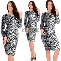 Women European Leopard Animal Print Clubwear Long Sleeve Evening Party Dress Pencil Midi Dress Fitted Bodycon B19 SV4909