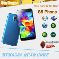"HDC Original S5 Phone 2G RAM 32G ROM MTK6582 Quad Core 5.1"" 1920x1080p Android 4.4 Kitkat Fingerprint S5 I9600 Cell Phone"