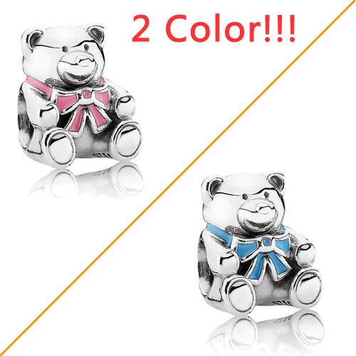 925 Sterling Silver Pink Blue Bear Enamel Clip Bead Pave Crystal Rhinestone Animals Pendant European Diy Bracelet Jewelry Charms(China (Mainland))