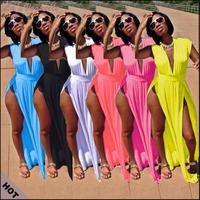 New 2014 Floor Length Dresses White Dress Sleeveless Bodycon Maxi Club Dress Deep V-Neck Dress For Sexy Girls  Plus Szie Dress