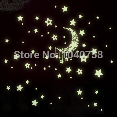 Fluorescent Luminous Wall Stickers Glow in the Dark Stars Home Decoration Eco-friendly PVC Cartoon Wall Decal for Kids Rooms(China (Mainland))