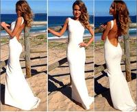 Summer New Fashion Sleeveless White Beach Dress,White Fine Aglet Lady Dress,Backless Dresses,Fashion Fishtail Halter Dress KF032