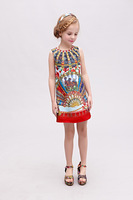 Hot-sale 2014 new three quarter girl dress,top quality Italy brand girl's dress,digital print floral children dress 2-12Y