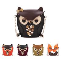 2015 New arrival Cartoon Bag Owl Shoulder Bags Leisure Women Leather Handbag  Fox  wallets Women Messenger Bag casual bag