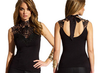 2015 New Summer Black vest vintage Lace top Embroidery Halter neck Backless Club Top women work wear LC25179