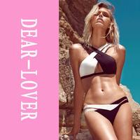Women 2015 Sexy Summer Push Up Beach Swimwear Crisscross Double Colored Bikini Set Swimsuit Bathsuit Swimwears Triangl  LC40902