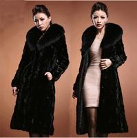 Fashion winter warm mink overcoat Women long faux mink fur coat mink hair large fur collar p1