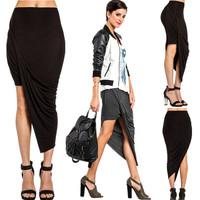 Women Modal Skirts Asymmetrical Folds skirt European & American star magazine same models Brand New Irregular Skirt wholesale