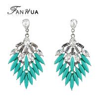 2014 New Arrivals Fashion Blue Big Spike Leaf Created Gemstone Fan Shaped Earrings