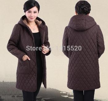 Толстые куртки зимнее пальто длинные женщин среднего возраста среднего возраста с капюшоном хлопок и пиджаки с добавлением жира 6XL пожилых мама мягкий бархат пальто