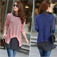 2014 Women's Fashion women knitwear Sweater Bottoming Sweater Hollow Piece Chiffon Shirt Blouse Tops 6colors For Choose W00116