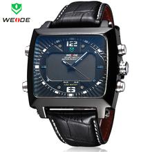 Weide hombres de relojes deportivos relojes militares LED Digital de cuarzo multifunción alarma fecha día 3ATM buceador del cuero Casual