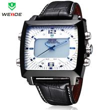 Moda de nueva marca WEIDE cuarzo del estilo del negocio reloj relojes deportivos para hombres LED Digital Alarm fecha día cuero del reloj militar