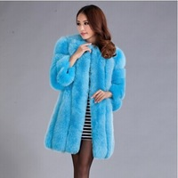 2014 Luxury Lady Genuine Natural Fox Fur Coat Jacket 3/4 Sleeve Winter Women Fur Trench Outerwear Coats Clothing VK1474