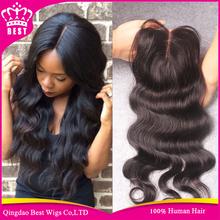 6A Grade Virgin Malaysian Body Wave Closure 3.5*4 Free Middle 3 Part Virgin Human Hair Lace Closure Bleached Knots Free Shipping(China (Mainland))