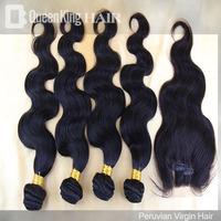Peruvian Virgin Hair 5 Pcs Lot 3 Part Lace Closure With 4 Bundles Hair Bundles Unprocessed Human Hair Extension Body Wave