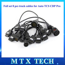 Full set Truck cables For Autocom TCS CDP PRO Series 8 piece/set  diagnotic tool connecter with factory price Free shipping(China (Mainland))