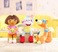 "9.8"" 25CM birthday gift soft cotton mini plush monkey  dora the explorer doll fox Swiper one set free shipping"