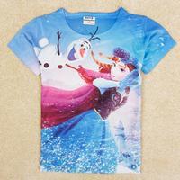 2014 Freeshipping Cotton Girls Character Real Rushed Atacado Roupas Infantil Peppa Nova Kids Frozen Girl's Sleeve T-shirt K5196#