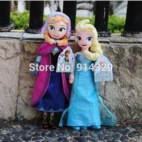 EMS free 20pcs/lot Wholesale Frozen Dolls Princess Elsa Anna Stuffed Plush Toys High Quality Baby Toy Girls Sleeping Doll 40CM